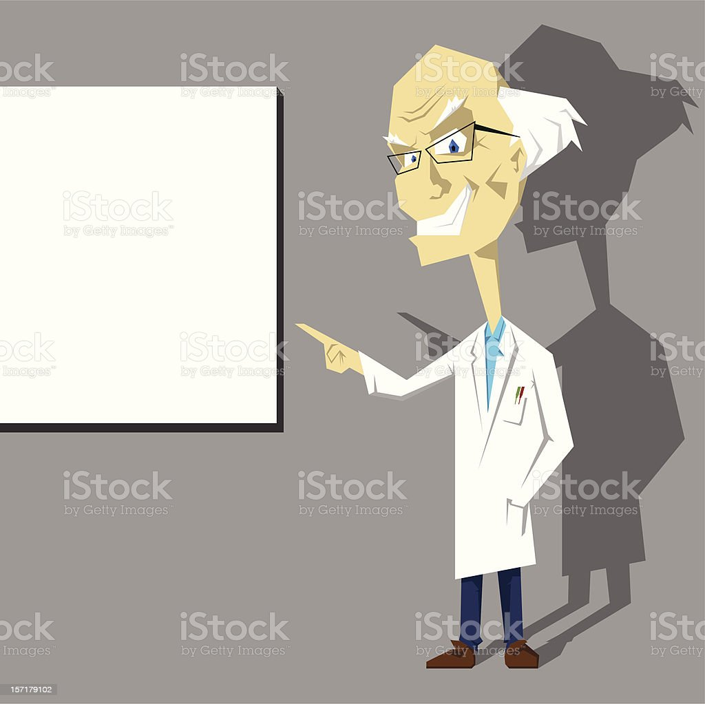 School teacher or doctor presenting over blank board royalty-free school teacher or doctor presenting over blank board stock vector art & more images of 60-69 years