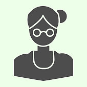 School teacher solid icon. Female businesswoman or training tutor in round glasses glyph style pictogram on white background. Education signs for mobile concept and web design. Vector graphics
