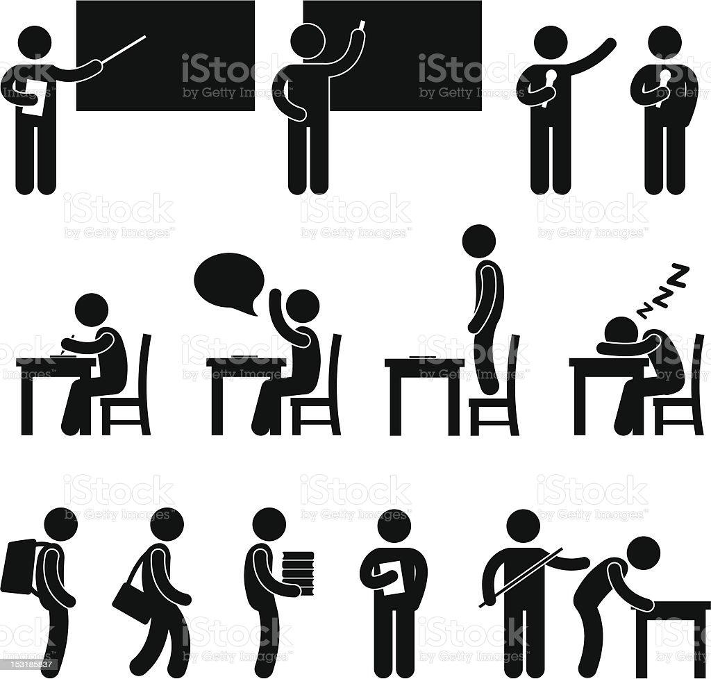School Teacher Student Classroom Pictogram vector art illustration