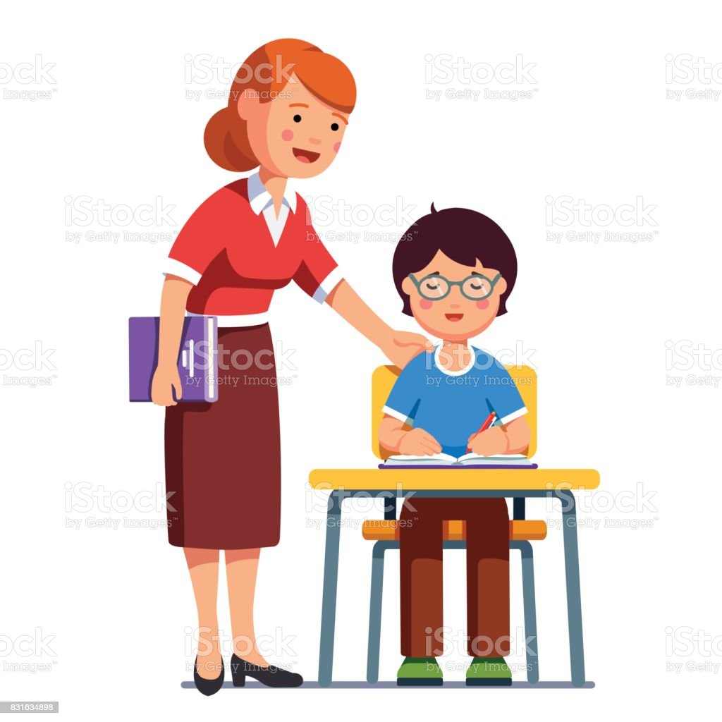 royalty free teacher cartoon helping pupil studying clip