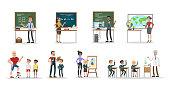 School teachers set. Men and women teaching pupils.