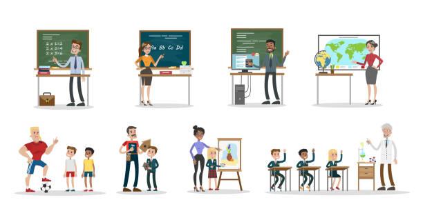 ilustrações, clipart, desenhos animados e ícones de conjunto de professores de escola - professor