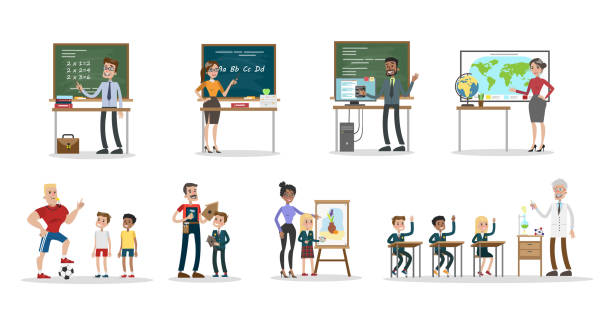 School teachers set vector art illustration