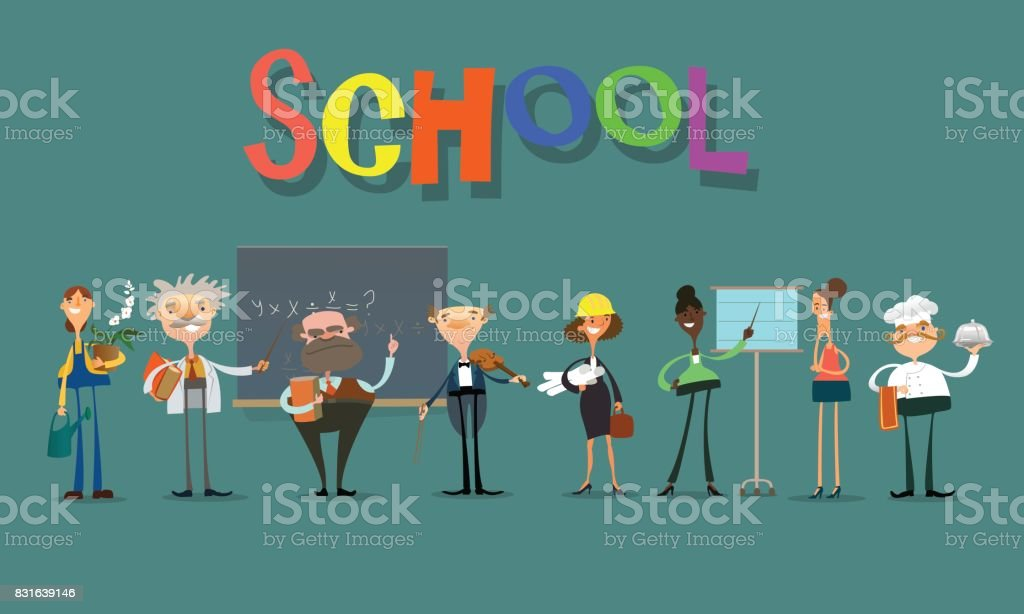 school team. vector art illustration