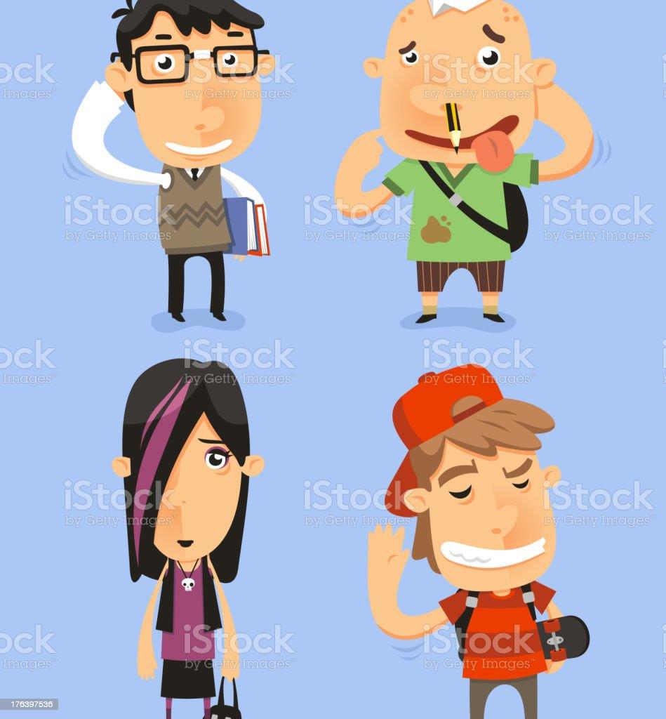 School Teen Adolescents Characters royalty-free stock vector art