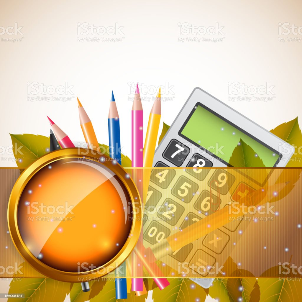 School theme background with different tools. Vector illustration royalty-free stock vector art