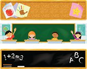 Three School bookmarks or banners.