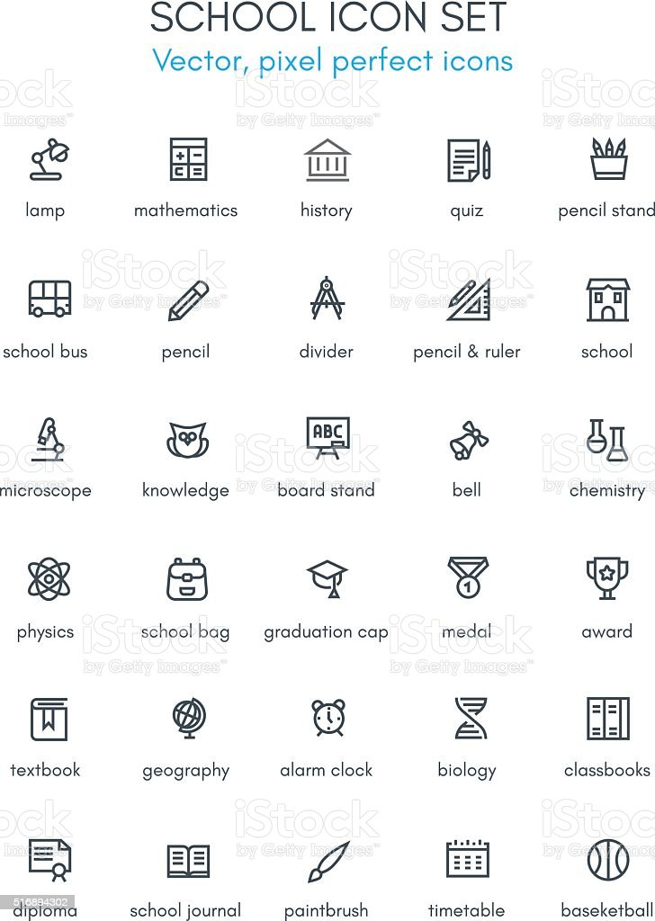 School theme line icon set vector art illustration