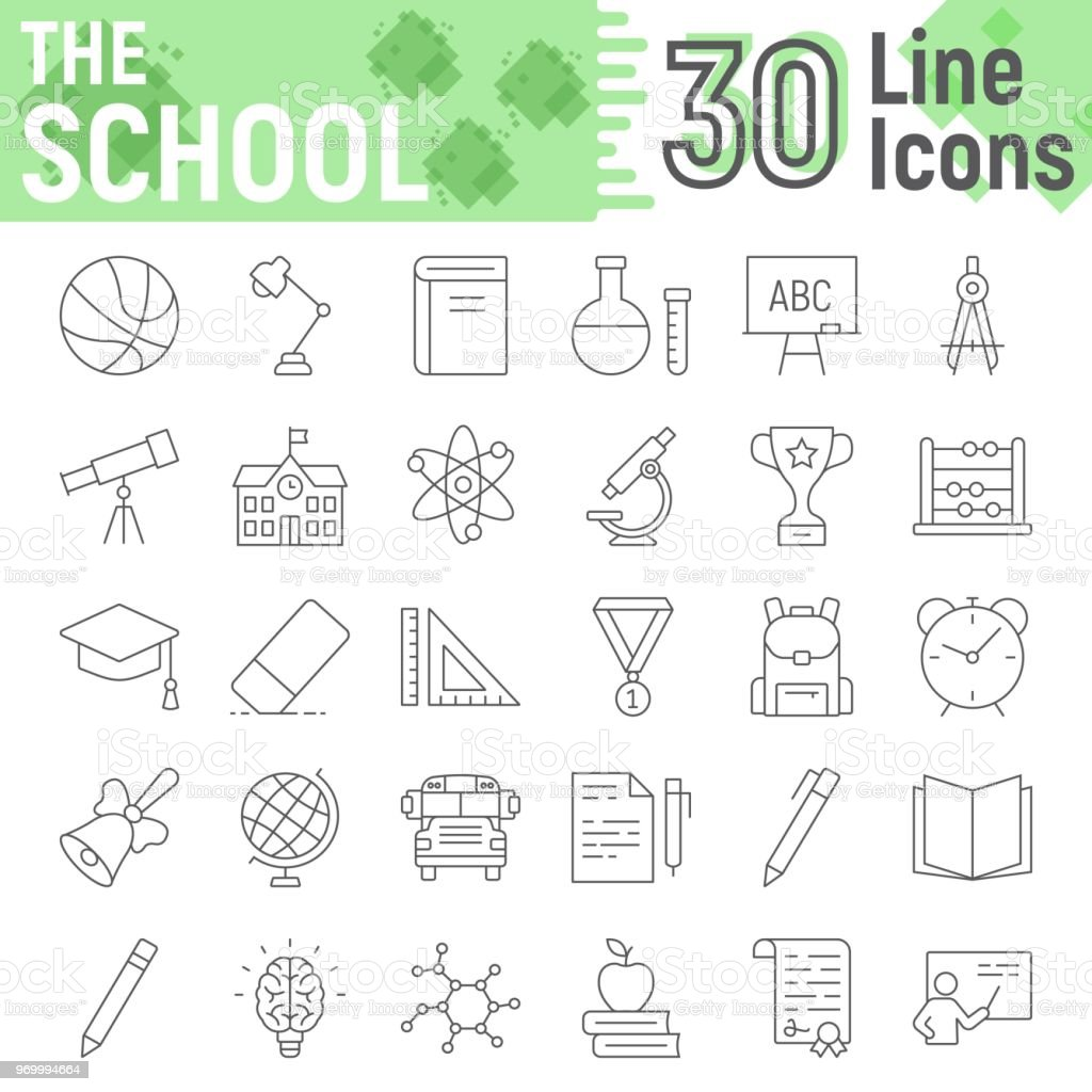 School thin line icon set, education symbols collection, vector sketches, logo illustrations, learning signs linear pictograms package isolated on white background, eps 10. vector art illustration