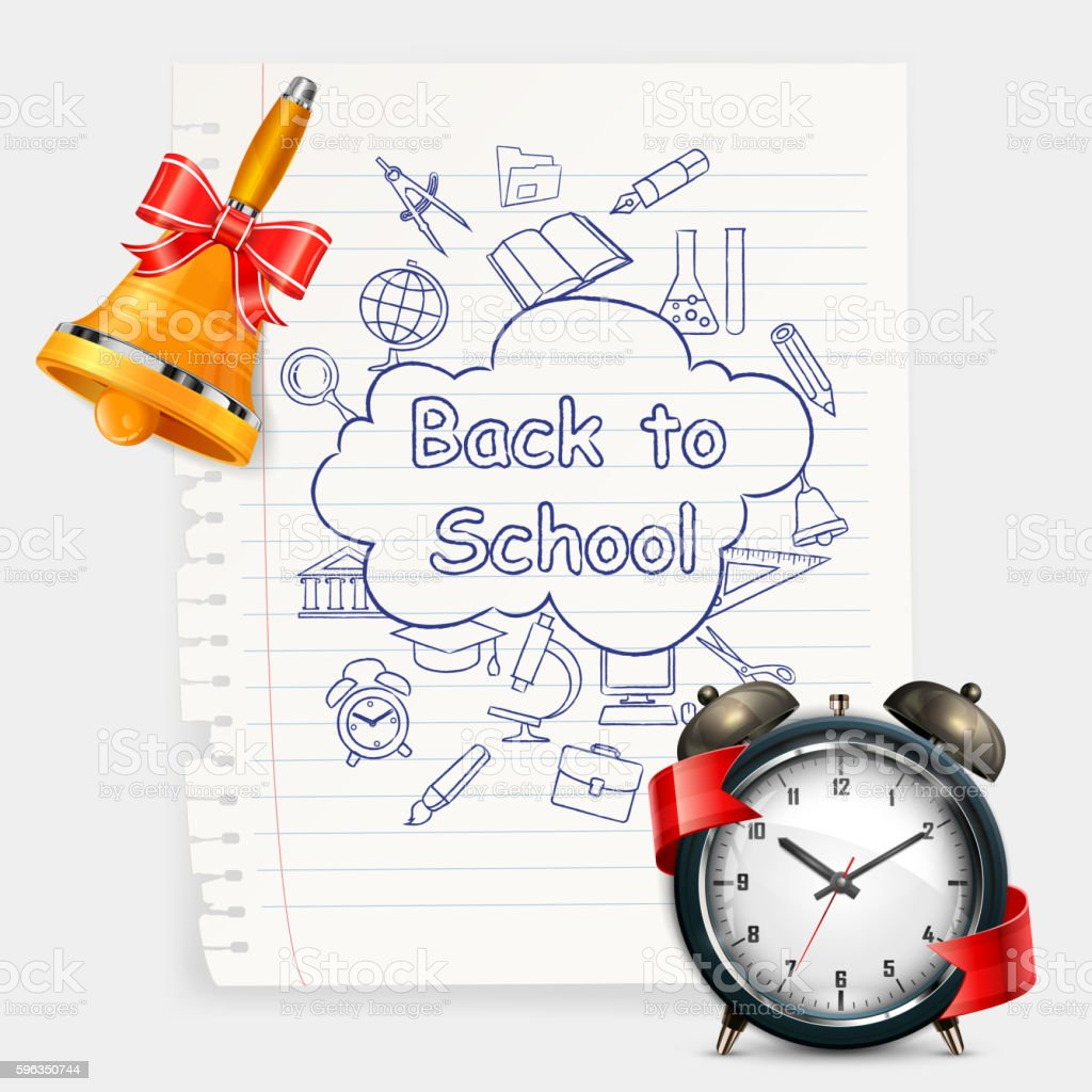 School time Alarm vector illustration Lizenzfreies school time alarm vector illustration stock vektor art und mehr bilder von akte
