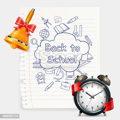 School Time Alarm Vector Illustration Stock Vector Art & More Images of Alarm 596350744