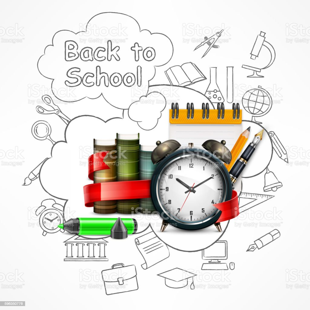 School time. Sketch royalty-free school time sketch stock vector art & more images of alarm