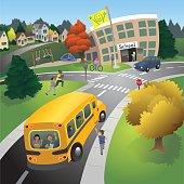 School bus and children arrive at the neighborhood school.
