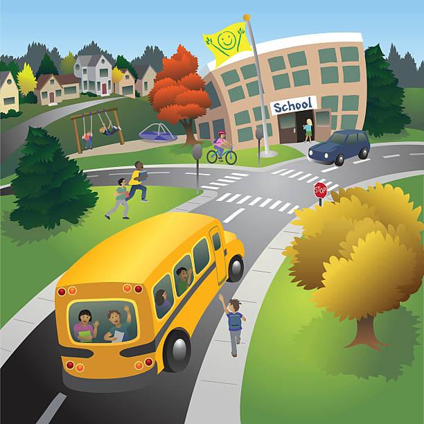 ilustraciones, imágenes clip art, dibujos animados e iconos de stock de escuela de tiempo - autobuses escolares