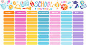 School Timetable, a weekly curriculum design template, scalable vector graphic with gradient transition. Vector Template School planning for pupils with supplies. hand drawn flat color illustration
