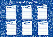 School timetable and weekly schedule vector design on blue chalkboard background. Student lessons plan template on notebook paper sheets with chalk sketches of book, globe and pencil, computer, paint