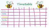 School timetable for children, bees . Vector icon. Funny planner.