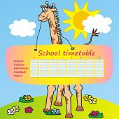 School timetable, giraffe