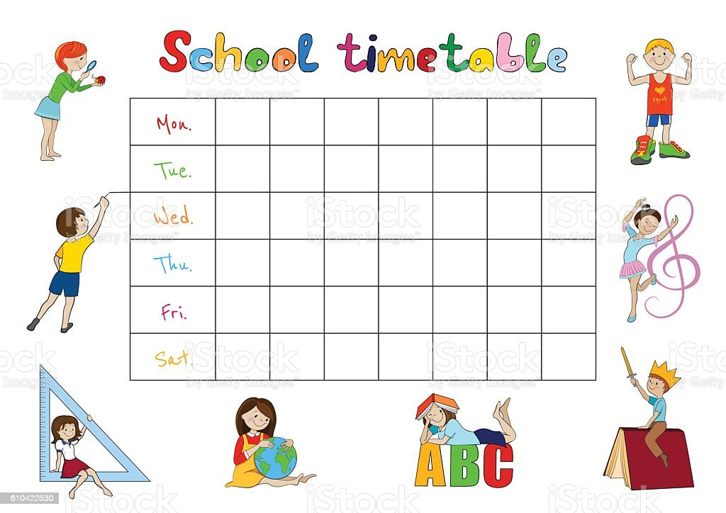 School timetable, kids weekly planner vector vector art illustration