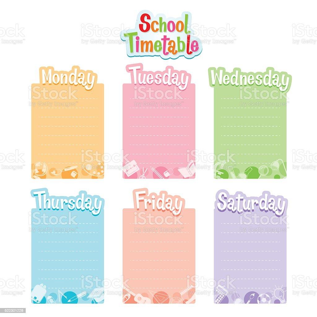 School Timetable, Monday To Saturday vector art illustration