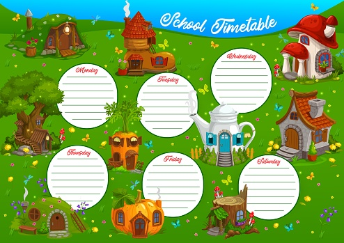 School timetable or education schedule template