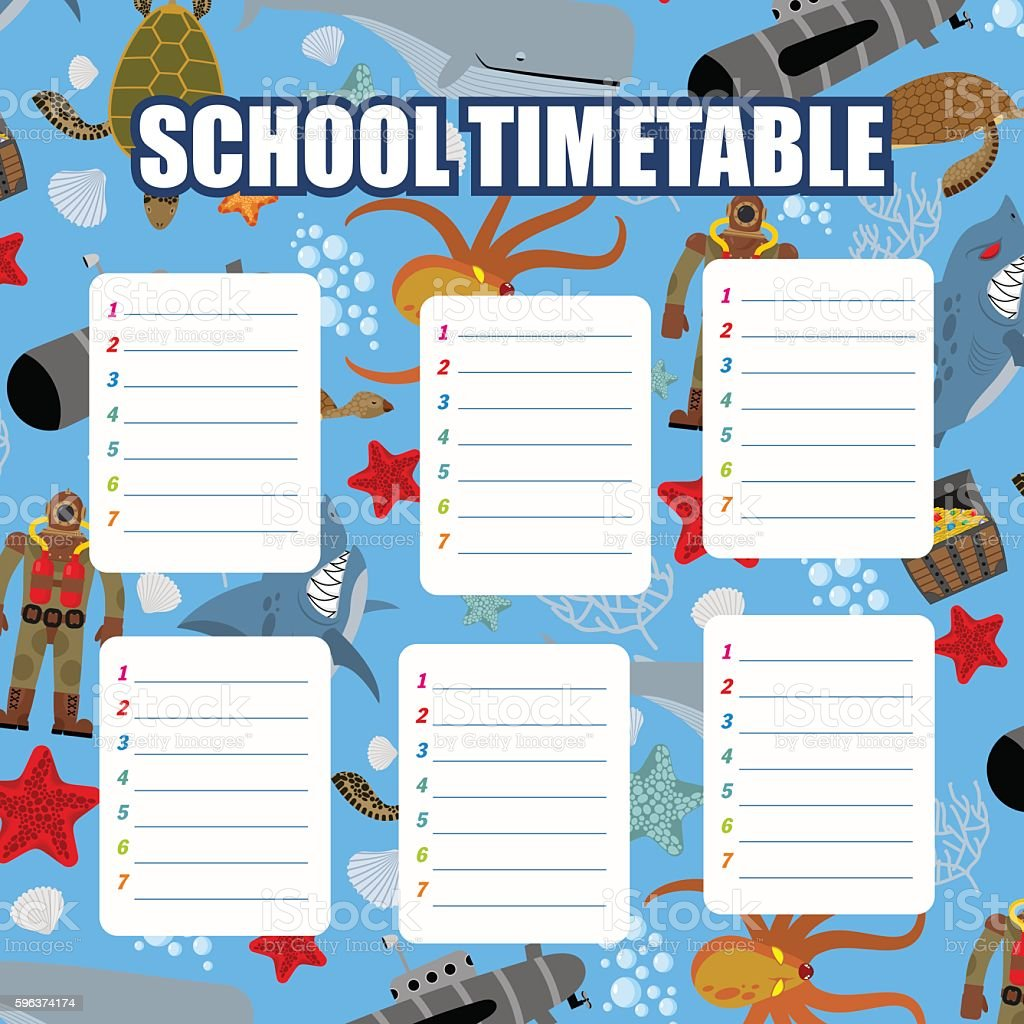 School timetable. Schedule. Back to school. Underwater World: Sh vector art illustration