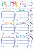 School timetable template on copy book sheet with hand written text.