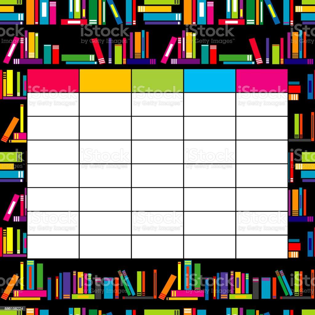 Schule Stundenplan Vorlage Mit Bücher Für Studenten Und Schüler ...