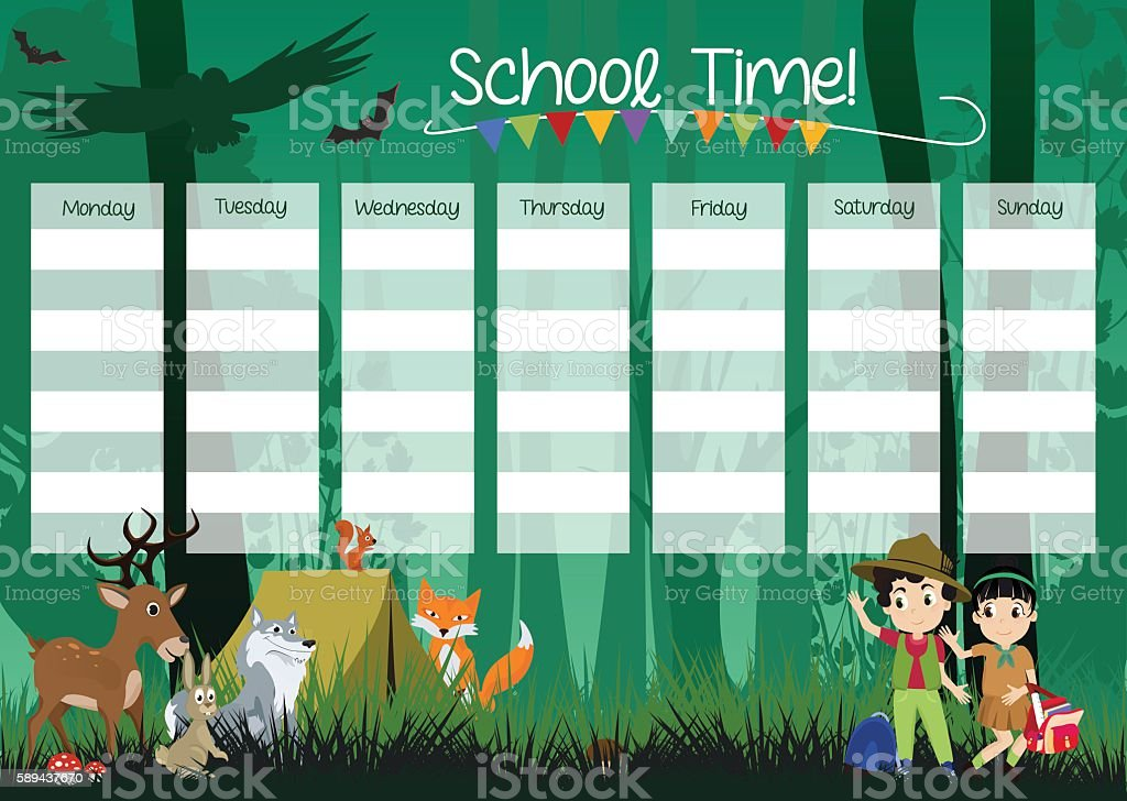 School Timetable vector art illustration
