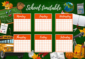 School timetable on green chalkboard, student classes week schedule checkered paper. Vector school timetable in education supplies, pencils and notebooks, school bus, graduation diploma and leaves