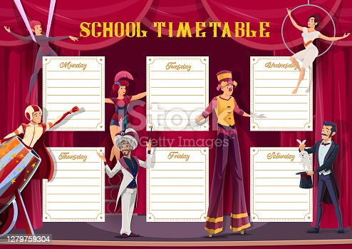 School timetable and lessons weekly planner, vector template with circus performers. School schedule, week time table with circus clown, bullet man, equilibrists and magician illusionist show