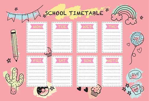 School timetable weekly planner notepad