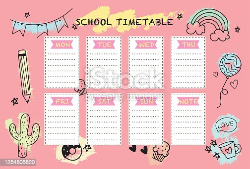 School timetable weekly planner notepad. Vector design