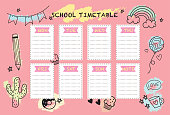 School timetable weekly planner notepad. Vector design
