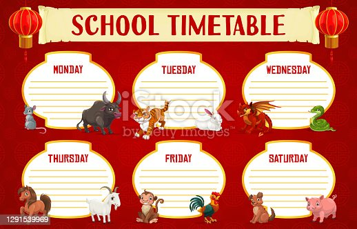 istock School timetable with Chinese horoscope animals 1291539969
