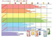 School timetable with paint cans