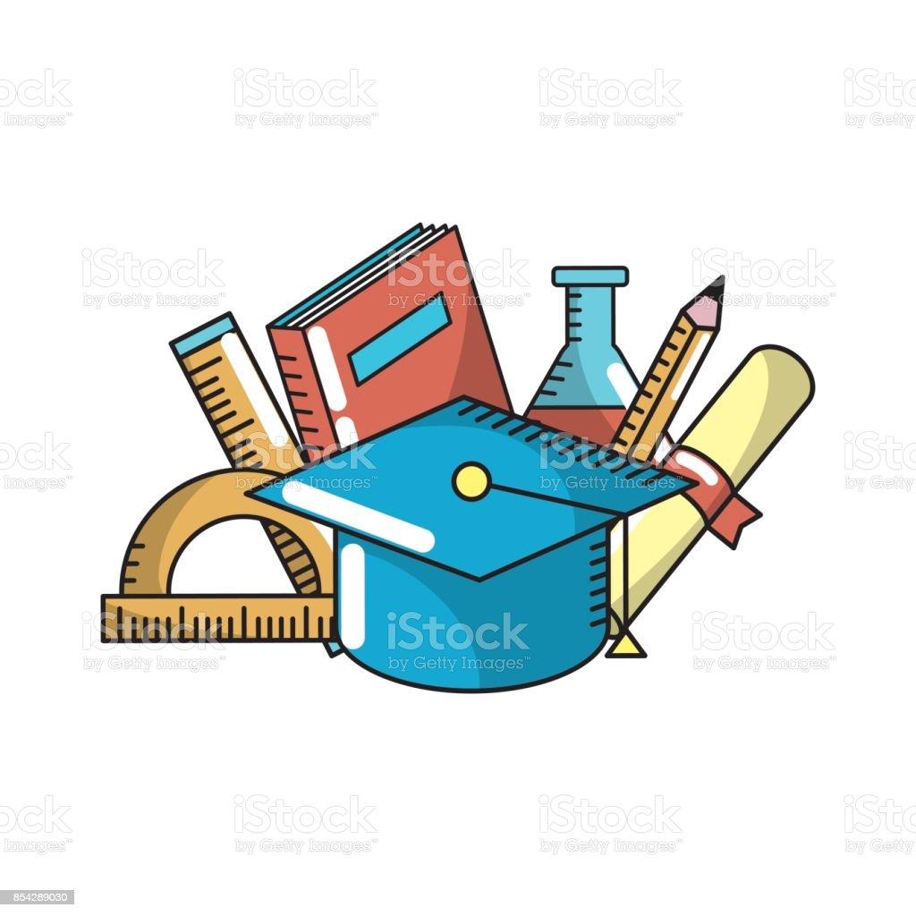 elementos de herramienta escolar al estudio de la educación - ilustración de arte vectorial