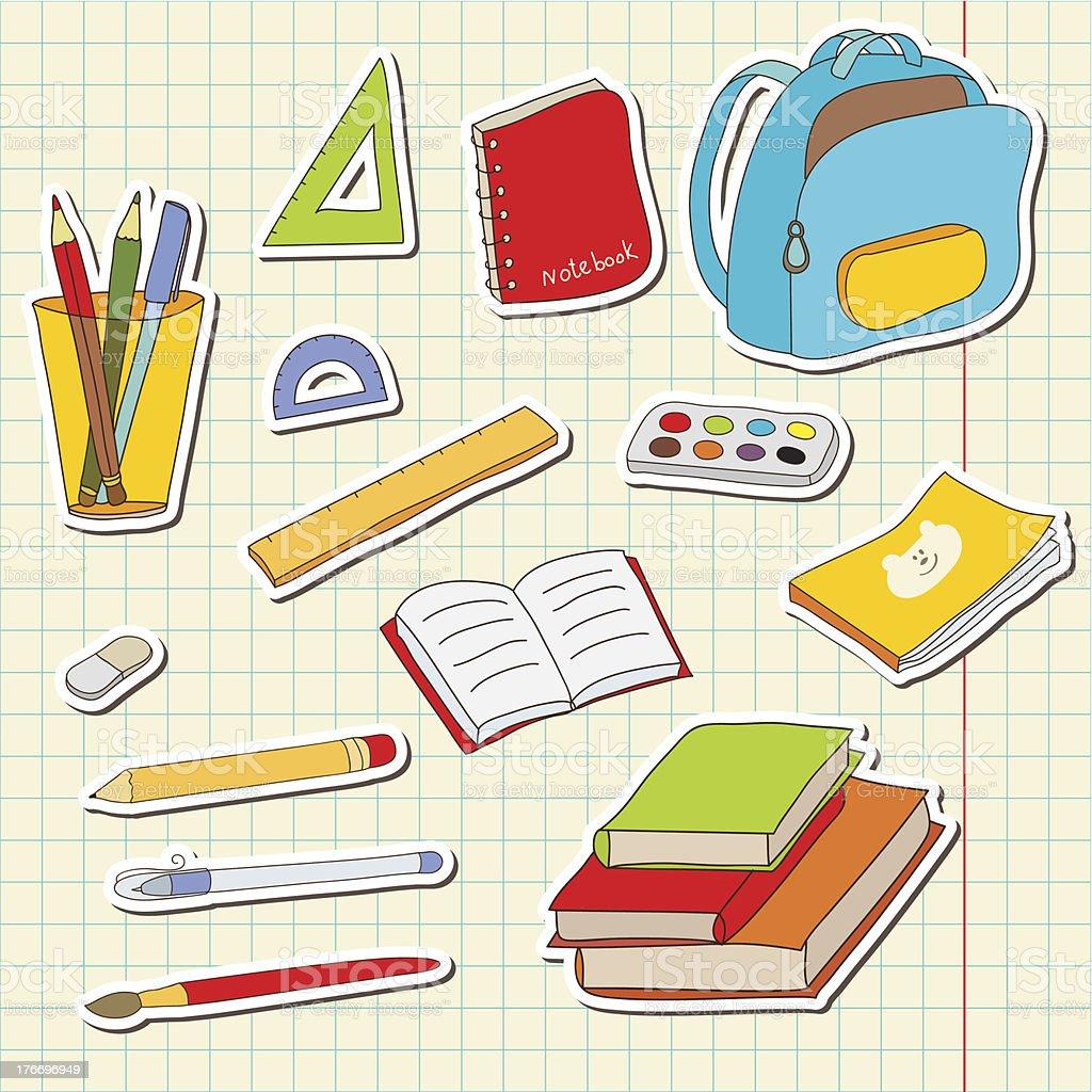 School tools vector sticker set royalty-free stock vector art