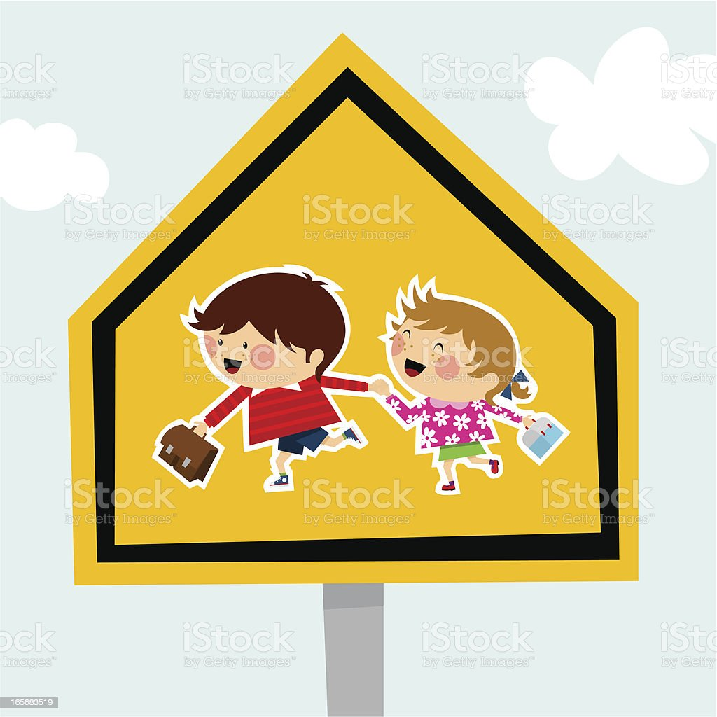 school traffic sign schoolboy schoolgirl backtoschool illustration vector vector art illustration
