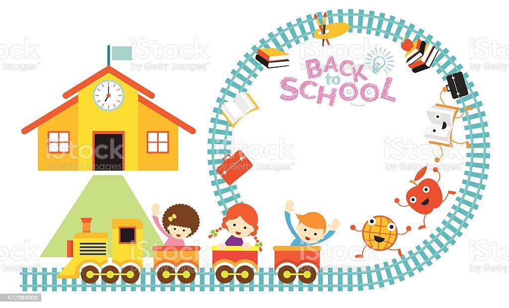 School Train Kids Frame Stock Vector Art & More Images of 2015 ...