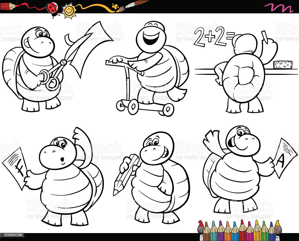 Ilustración de Escuela De Historieta Página Para Colorear De Tortuga ...