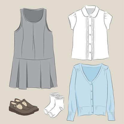 School Uniform girl sketch style vector