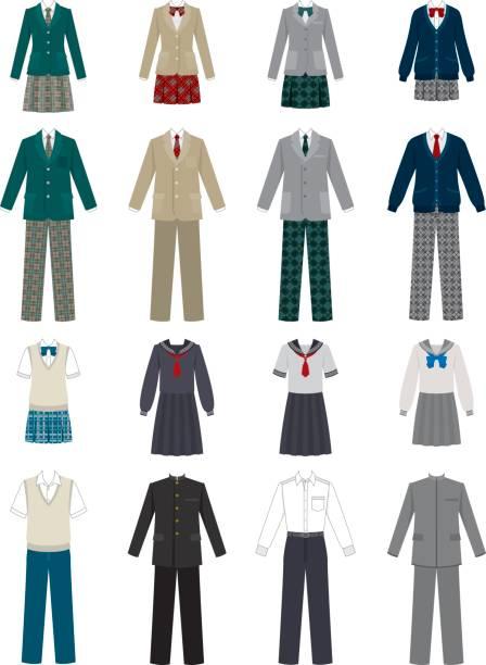 stockillustraties, clipart, cartoons en iconen met schooluniform - men blazer