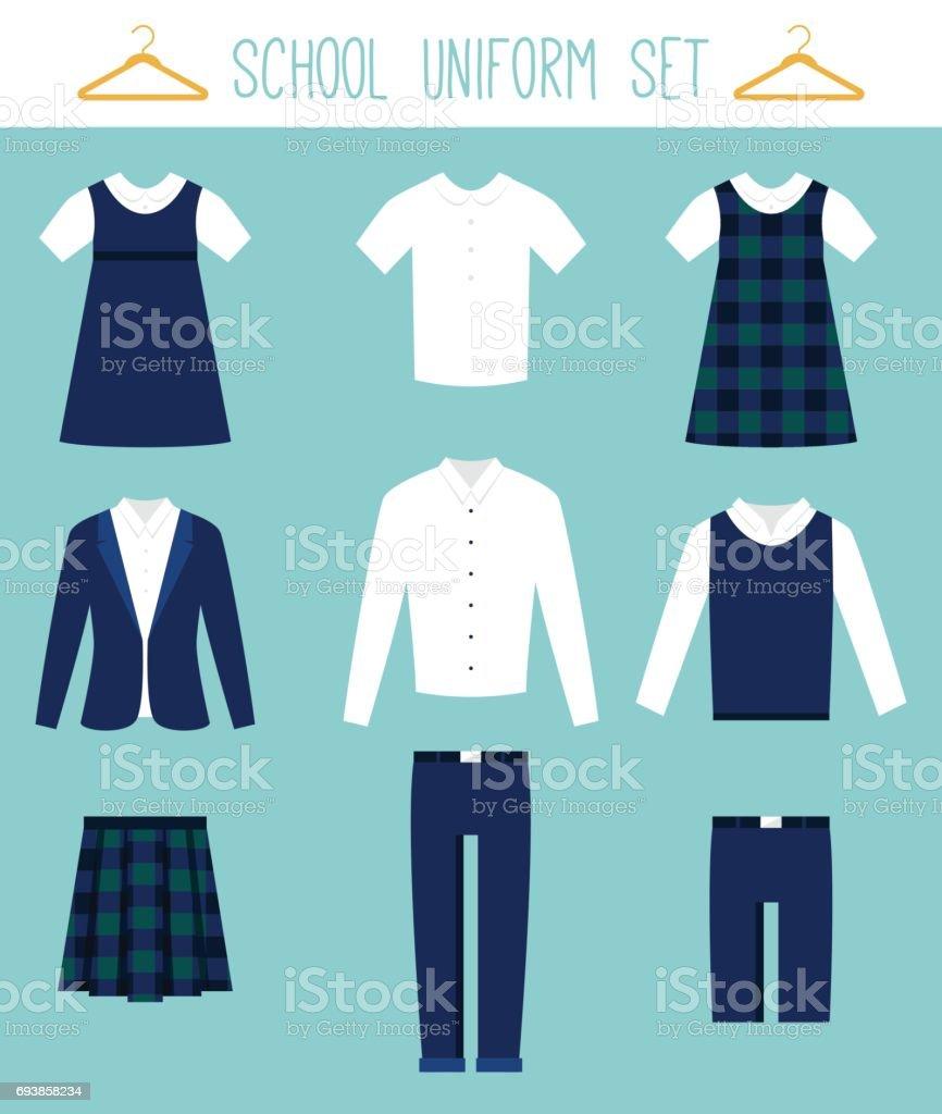 School Uniforms for Children. Kids Clothes Vector Set royalty-free school uniforms for children kids clothes vector set stock illustration - download image now