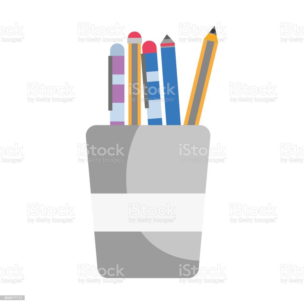 school utensils inside cup tool design vector art illustration