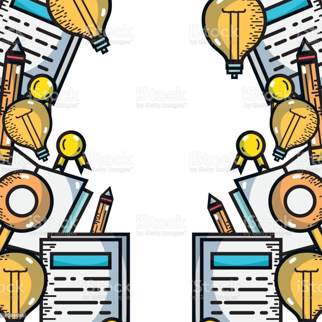 school utensils to education study background vector art illustration