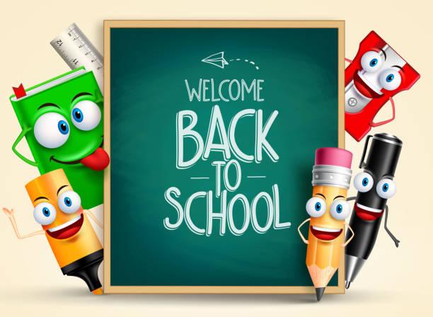 bildbanksillustrationer, clip art samt tecknat material och ikoner med school vector characters of funny  school items - förskolebyggnad