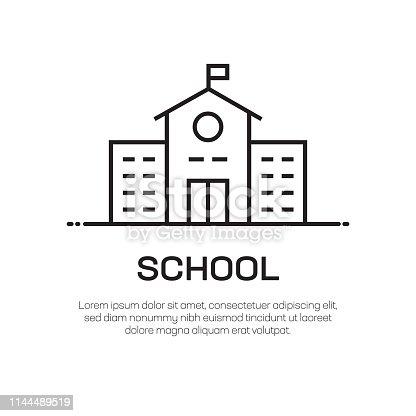 School Vector Line Icon - Simple Thin Line Icon, Premium Quality Design Element