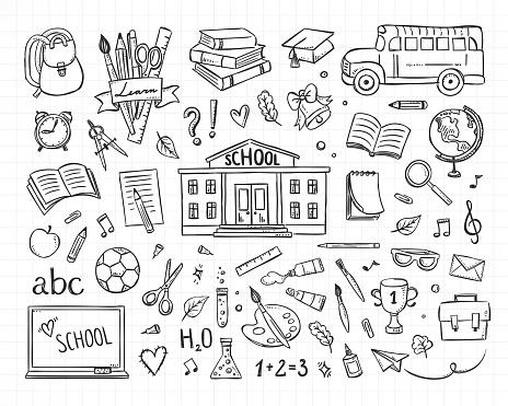 School vector set. Hand drawn studying collection. Doodle back to school sketch illustrations