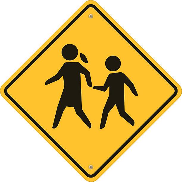 school warning  sign. - crossing stock illustrations, clip art, cartoons, & icons